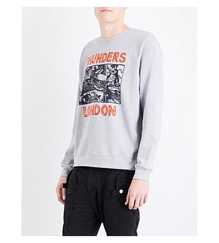 THUNDERS London-print cotton-jersey sweatshirt (Heather+grey