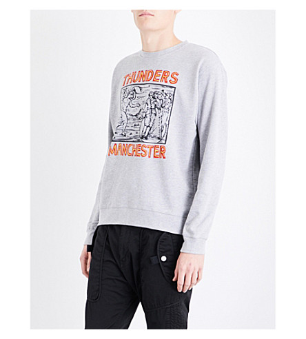 THUNDERS Manchester-print cotton-jersey sweatshirt (Heather+grey