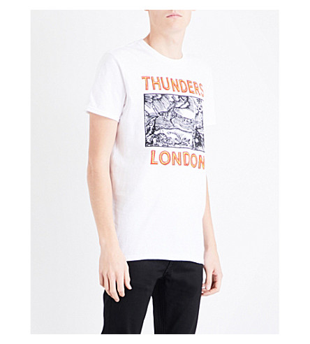 THUNDERS London-print jersey T-shirt (White