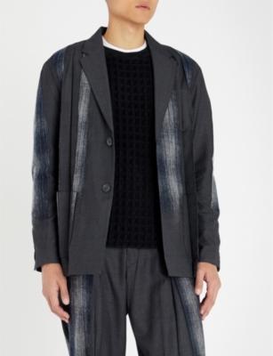 TAAKK Cotton-Panelled Checked Woven Jacket in Navy