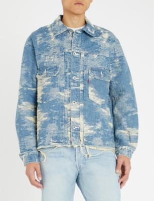 TAAKK Destroy Distressed Denim-Jacquard Shirt in Crash