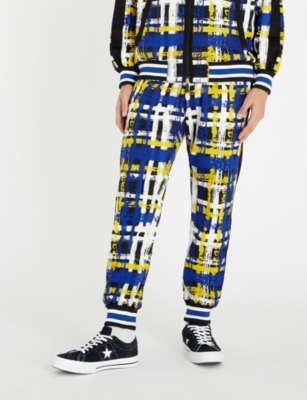 TAAKK Checked Stretch-Jersey Jogging Bottoms in Blue