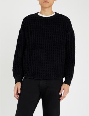 TAAKK Waffle-Knit Wool-Blend Jumper in Black