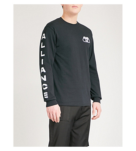 ALLIANCE Logo-print cotton-jersey top (Black