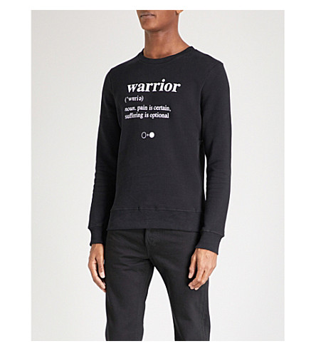 A BLACK AND WHITE STORY Warrior cotton-jersey jumper (Black