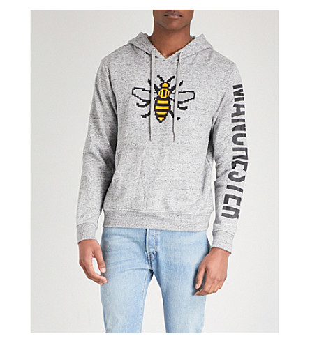 MOSTLY HEARD RARELY SEEN Manchester printed cotton-jersey hoody (Heathery+grey