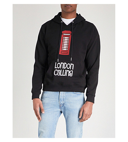 MOSTLY HEARD RARELY SEEN London Calling printed cotton-jersey hoody (Black