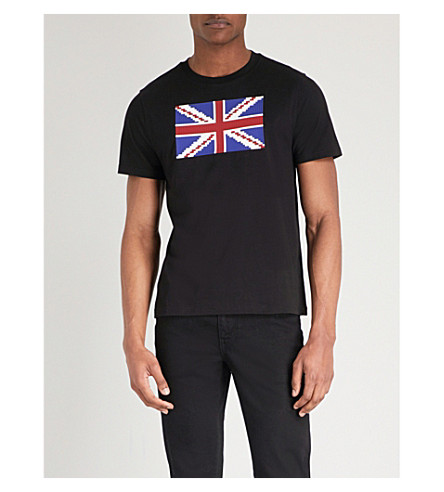 MOSTLY HEARD RARELY SEEN Union Jack print cotton-jersey T-shirt (Black