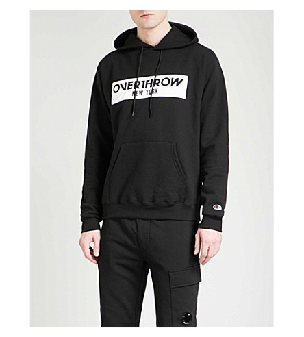 OVERTHROW Lamyland logo-print cotton-blend hoody (Black