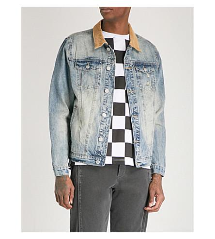 PROFOUND AESTHETIC Printed-panel distressed denim jacket (Vintage+blue