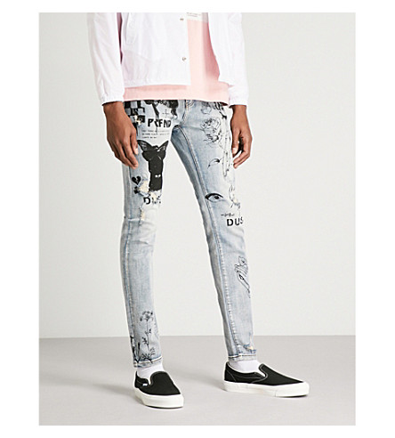 PROFOUND AESTHETIC Sketch-detail slim-fit skinny jeans (Stone+wash
