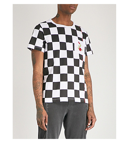 PROFOUND AESTHETIC Checked cotton-jersey T-shirt (Black+white