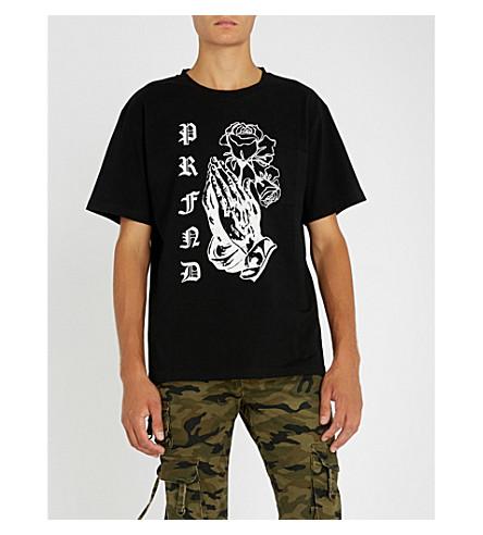 PROFOUND AESTHETIC玫瑰祈祷平纹针织棉 T 恤 (黑色