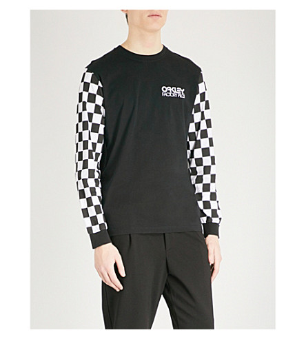 OAKLEY Thermonuclear checkerboard-print cotton-jersey top (Blackout
