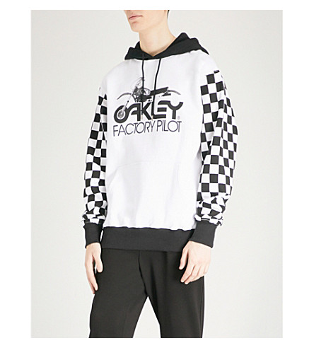 OAKLEY Thermonuclear checkerboard-print cotton-jersey hoody (White