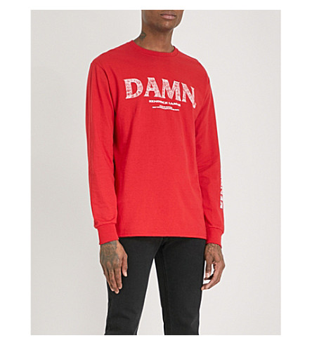 TDE Kendrick Lamar DAMN. Official Merch Kung-Fu Kenny cotton-jersey top (Red