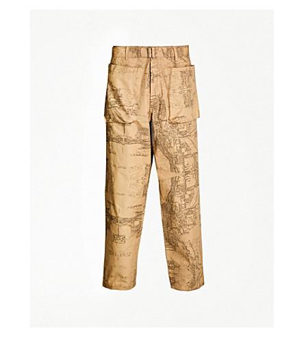 REESE COOPER Printed regular-fit cotton-twill pants (Khaki/black