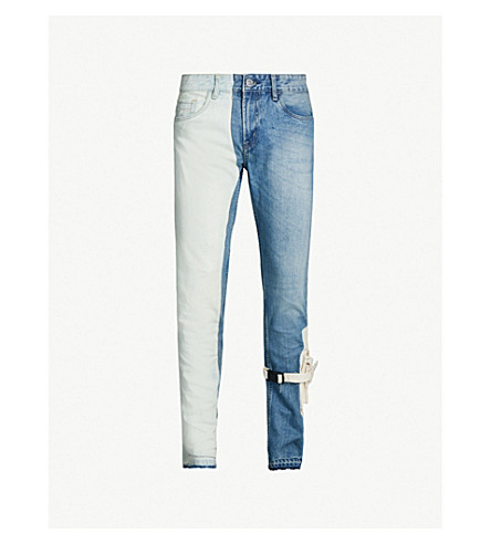 VAL KRISTOPHER Striped slim-fit straight jeans (Bleached+light+wash+blue