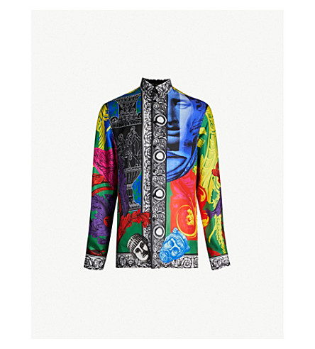 VERSACE Baroque-print silk-twill shirt (Multicolor