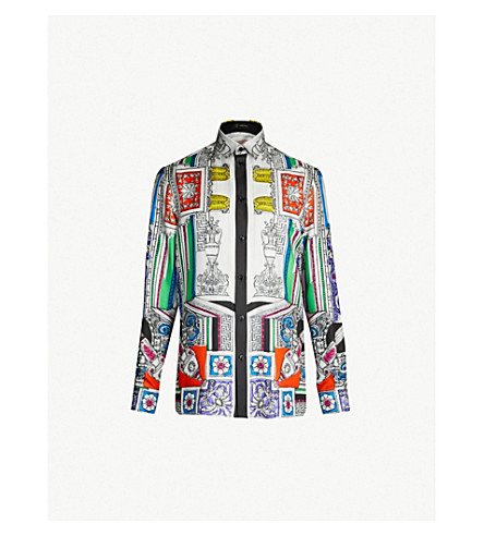 VERSACE Vase-print regular-fit silk-twill shirt (Multicolor
