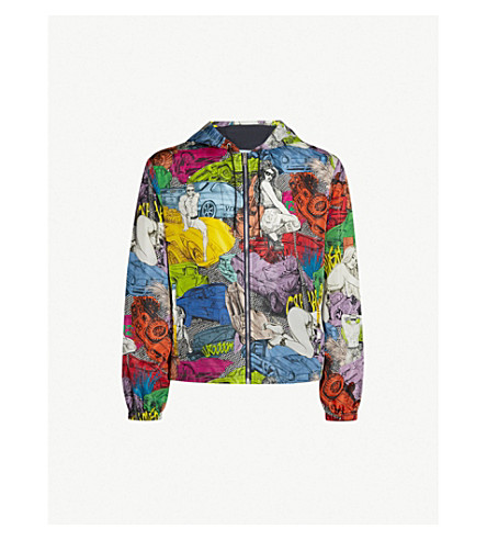 VERSACE Printed shell hooded jacket (Multicolor