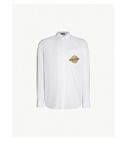 VERSACE Baroque-print regular-fit cotton-poplin shirt (Bianco