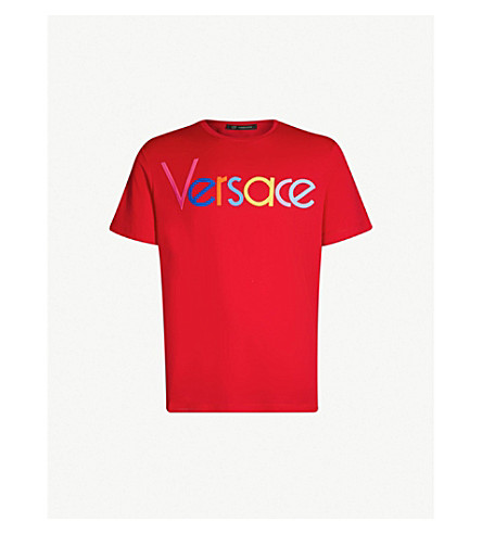 VERSACE Logo-print cotton-jersey T-shirt (Hot red