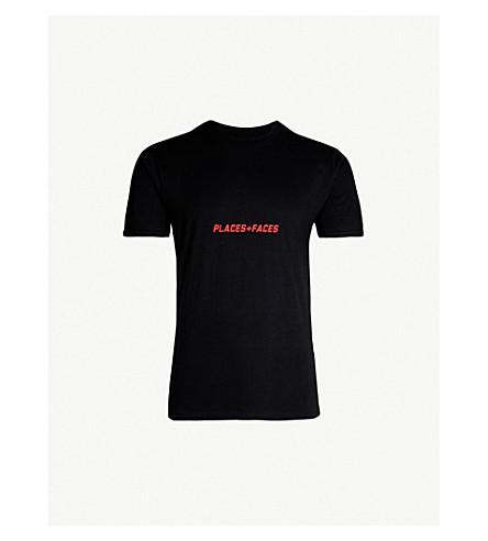 PLACES + FACES Logo-print cotton-jersey T-shirt (Black