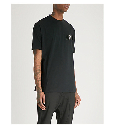 RAF SIMONS X FRED PERRY Tape-detail cotton-jersey T-shirt (Black
