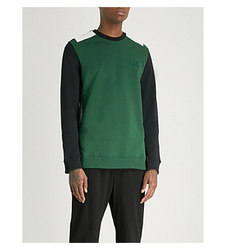 RAF SIMONS X FRED PERRY Tape-detail cotton-jersey sweatshirt (Tartan+green