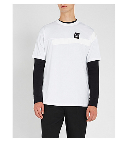 FRED PERRY Tape-trimmed cotton-jersey T-shirt