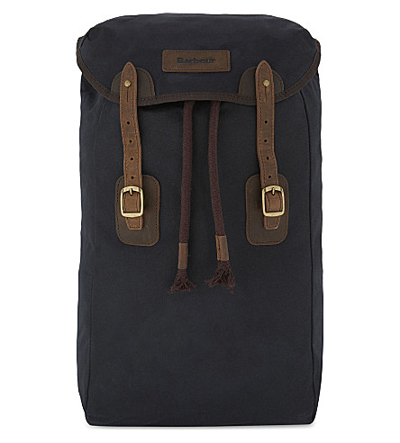 BARBOUR Waxed leather and canvas backpack (Navy