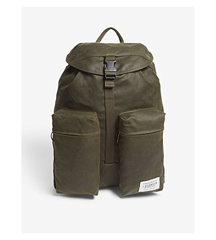 BARBOUR Archive waxed cotton-blend backpack (Archive+olive
