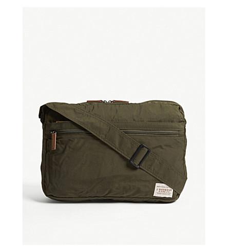 BARBOUR Packaway nylon messenger bag (Dk+green
