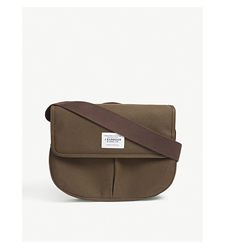 BARBOUR Cotton canvas tarras shoulder bag (Olive