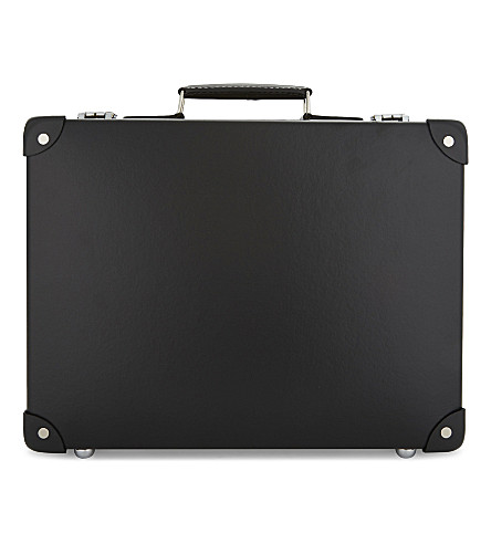 GLOBE-TROTTER Centenary slim leather attaché case (Black+and+black
