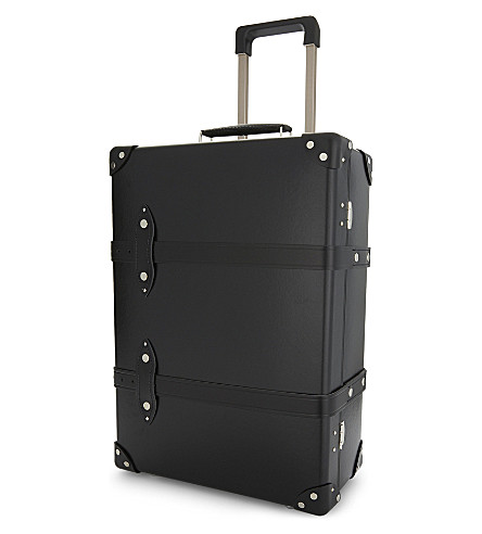 GLOBE-TROTTER Centenary two wheel leather trolley case 55cm (Black+and+black
