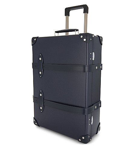 GLOBE-TROTTER Centenary two wheel leather trolley case 55cm (Navy+and+navy