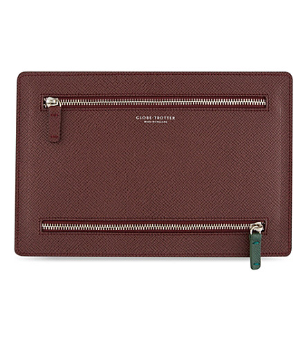 GLOBE-TROTTER Jet leather currency wallet (Burgundy