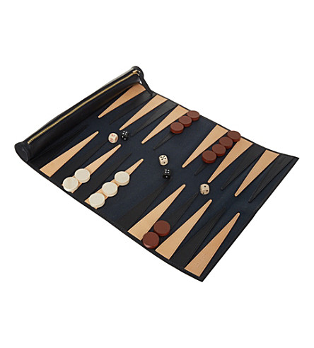 GLOBE-TROTTER Propellor rolled backgammon set (Navy