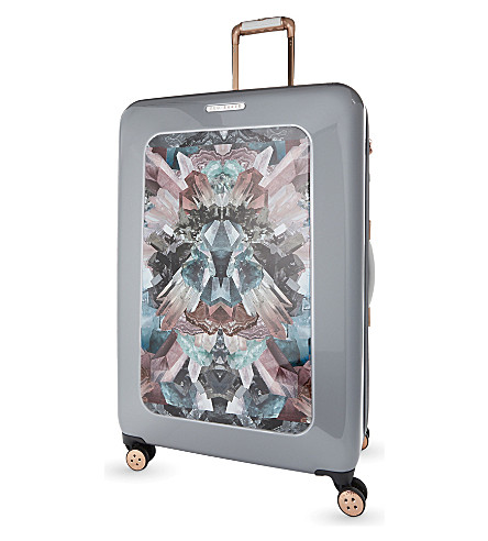 TED BAKER Mirrored minerals four wheel suitcase 80cm (Silver
