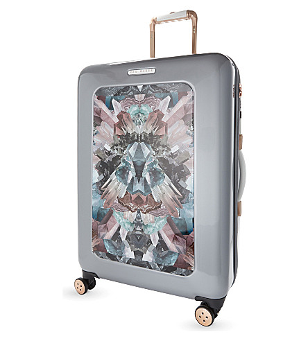 TED BAKER Mirrored minerals four wheel suitcase 70cm (Silver