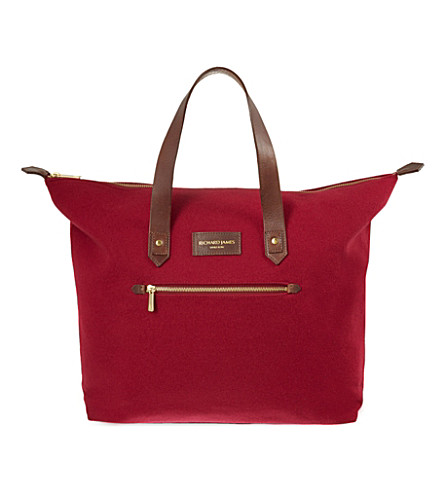 RICHARD JAMES Curzon broadcloth shoulder bag (Cherry/brown