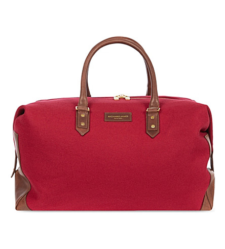 RICHARD JAMES Brook broadcloth holdall (Cherry/brown