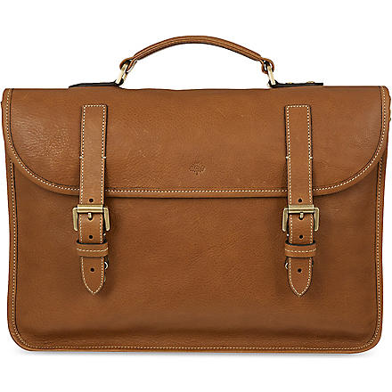MULBERRY Elkington natural leather briefcase (Oak