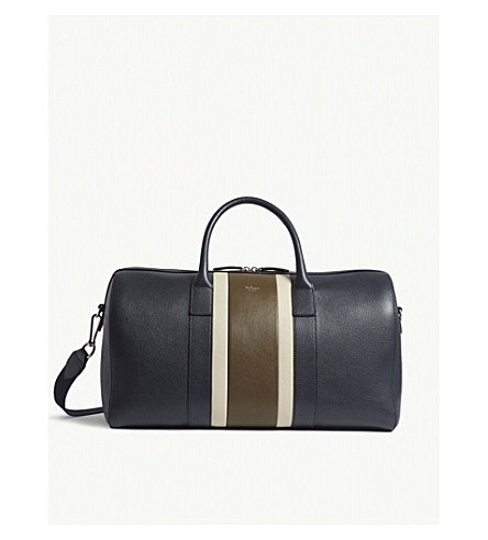 MULBERRY Reston pebbled leather holdall (Midnight-chalk-moss