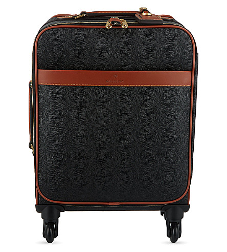 MULBERRY Scotchgrain four-wheel trolley suitcase 55cm (Black-cognac