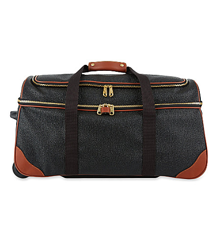 MULBERRY Albany Scotchgrain two-wheel duffle bag (Black-cognac