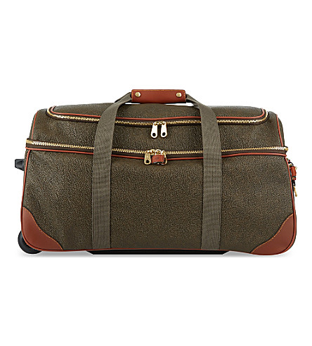 MULBERRY Albany Scotchgrain two-wheel duffle bag (Mole-cognac