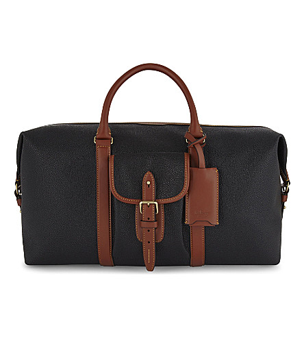 MULBERRY Heritage Weekender leather bag (Black-cognac